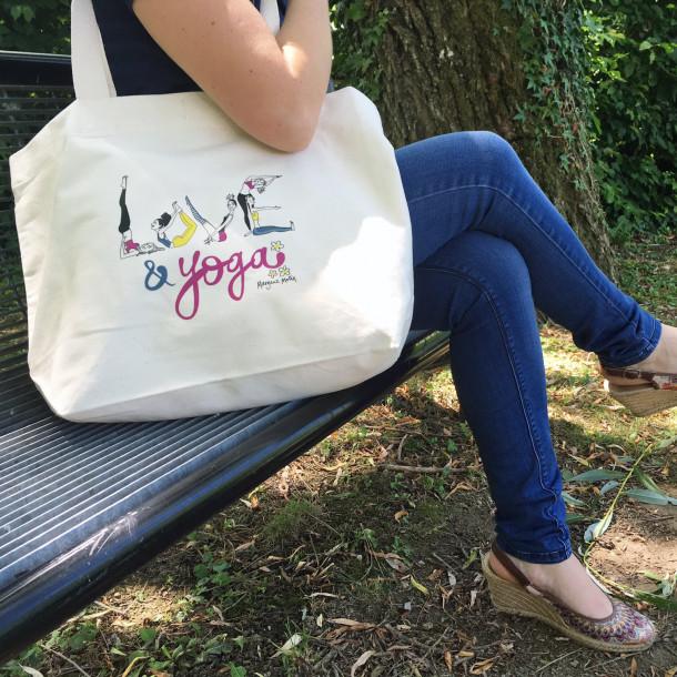 Sac Tote Bag en coton bio « Love & Yoga » by Margaux Motin