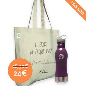"""Pack Zen (Bouteille Manduka Mauve + Sac Tote bag """"Le sens de l'équilibre"""")"""
