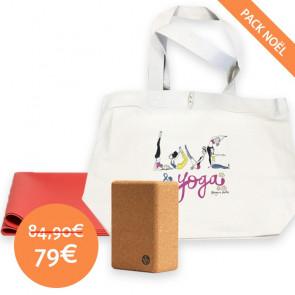 """Pack de Noël (Tapis Eko  Superlite Acai + Brique en liège + Tote bag """"Love & Yoga"""" by Margaux Motin)"""