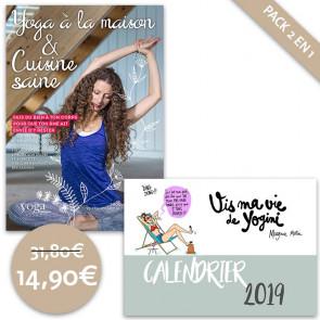 """Pack DVD avec Yoga à la maison et cuisine saine et Calendrier """"Vis ma vie de Yogini"""" Margaux Motin"""