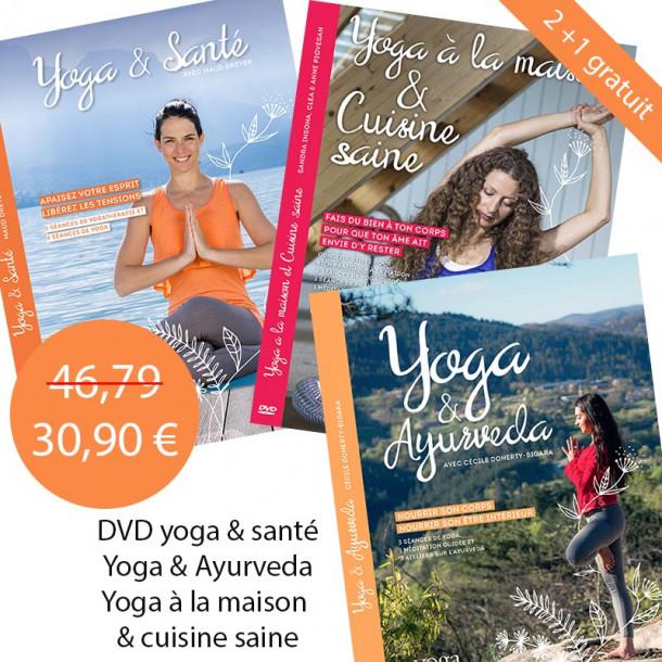 PACK DVD Yoga et Ayurveda + DVD Yoga à la maison et cuisine saine + DVD Yoga et Santé